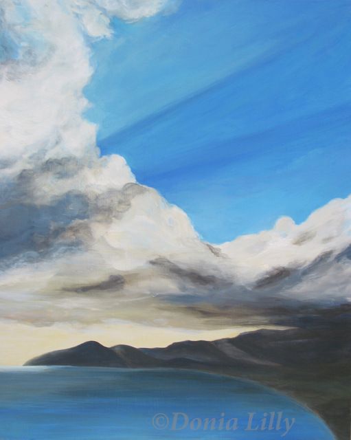 acrylic painting of clouds and island bay by Kauai artist Donia Lilly