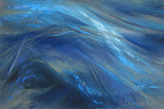 abstract pastel painting black gray blue by Kauai, Hawaii artist Donia Lilly