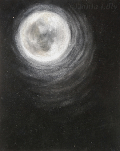 pastel painting of bright full moon white black by Kauai, Hawaii artist Donia Lilly