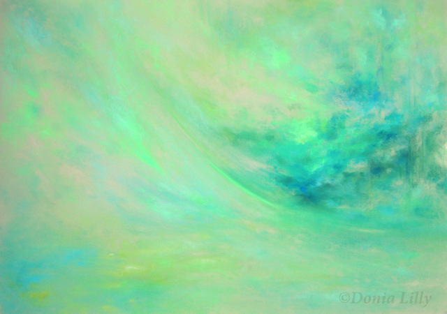 abstract pastel painting turquoise green by Kauai artist Donia Lilly