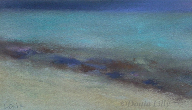 ocean pastel painting of Honfleur aqua blue purple beige by Kauai artist Donia Lilly