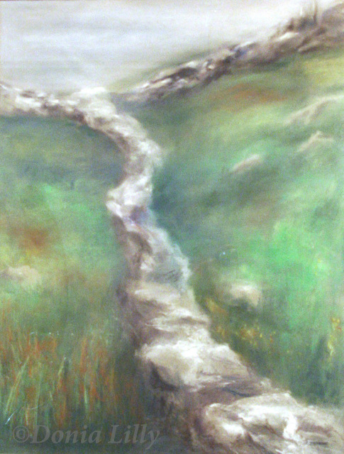 pastel painting of irish stone wall green grey by Kauai artist Donia Lilly