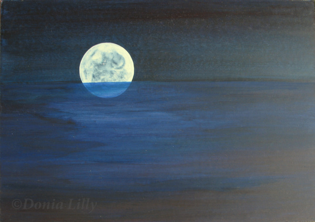 acrylic painting of moonrise and sea imaginary blue black by Kauai, Hawaii artist Donia Lilly