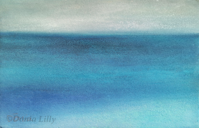 ocean pastel painting aqua blue grey by Kauai artist Donia Lilly