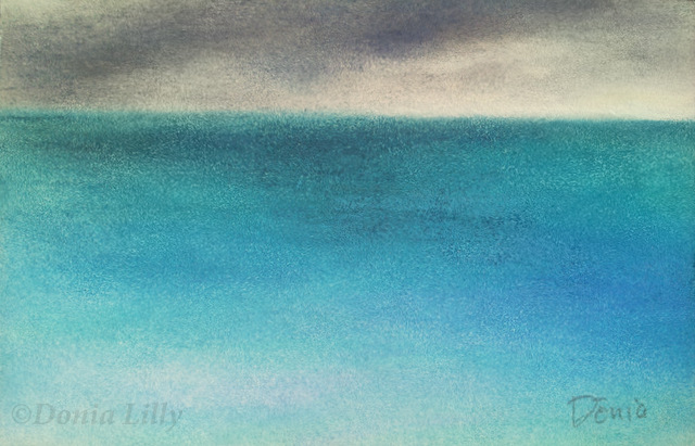 ocean pastel painting turquoise blue grey by Kauai artist Donia Lilly
