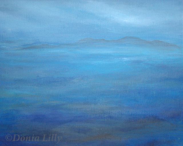ocean acrylic painting blue grey by Kauai artist Donia Lilly