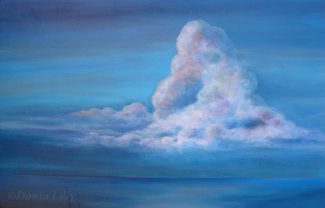 acrylic painting of fluffy cloud and ocean by Kauai artist Donia Lilly