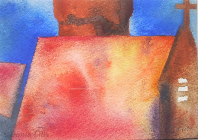 mixed media painting red blue yellow brown by Kauai artist Donia Lilly