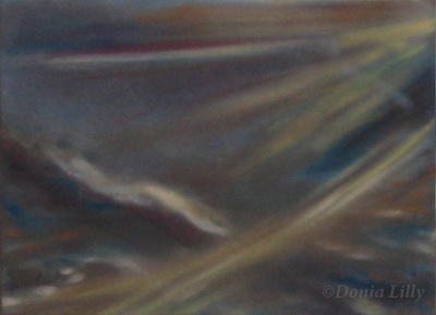 abstract pastel painting brown blue by Kauai, Hawaii artist Donia Lilly
