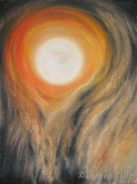 pastel painting of full burning moon orange yellow black halloween by Kauai, Hawaii artist Donia Lilly