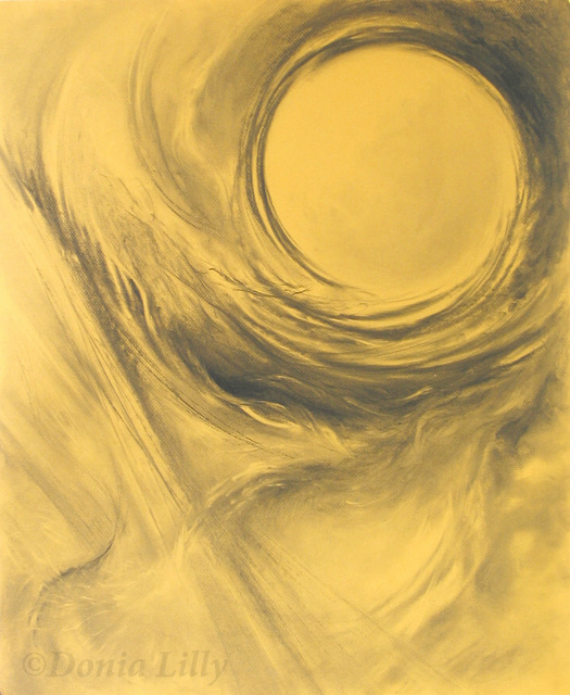 yellow charcoal drawing of full moon lyrical by Kauai, Hawaii artist Donia Lilly
