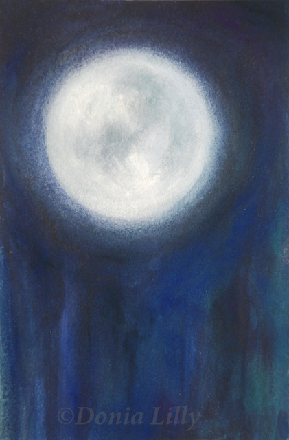 mixed media painting of full moon blue purple black by Kauai, Hawaii artist Donia Lilly