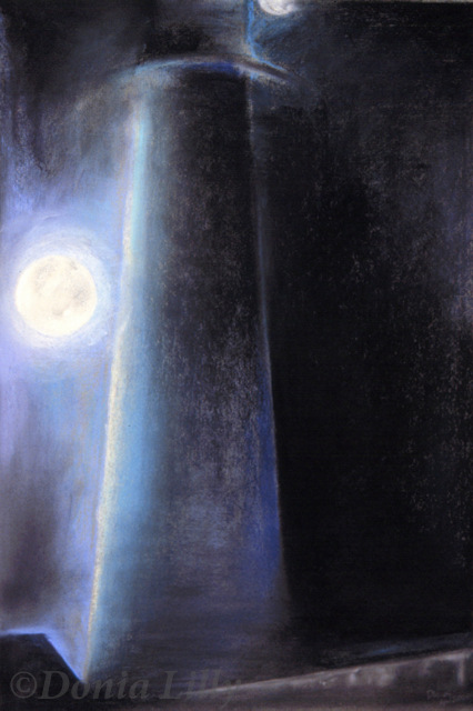 pastel painting of moon and lighthouse blue black by Kauai, Hawaii artist Donia Lilly