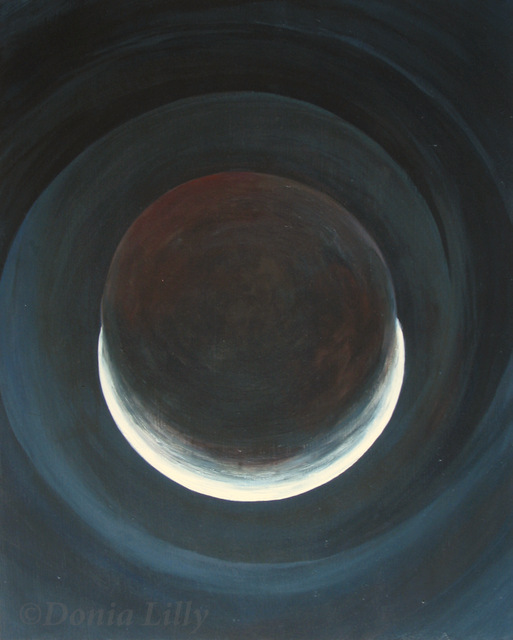 acrylic painting of lunar eclipse blue grey black red by Kauai, Hawaii artist Donia Lilly