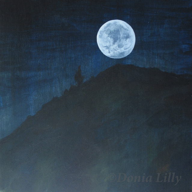 acrylic painting of moon rising over hill in Spain by Kauai, Hawaii artist Donia Lilly