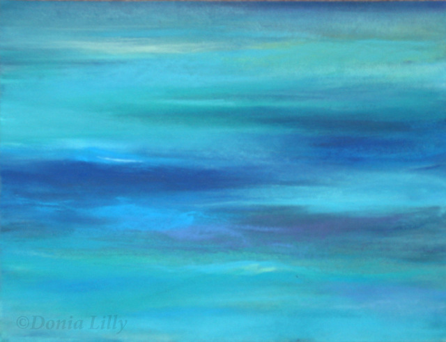 ocean mixed media painting aqua blue green purple by Kauai artist Donia Lilly