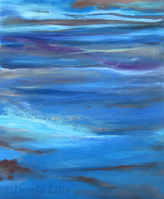 ocean mixed media painting blue purple brown by Kauai artist Donia Lilly