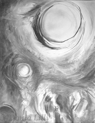 charcoal drawing of full moon creepy by Kauai, Hawaii artist Donia Lilly
