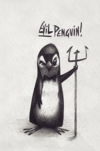 evil penguin pencil drawing by Fouad Mezher