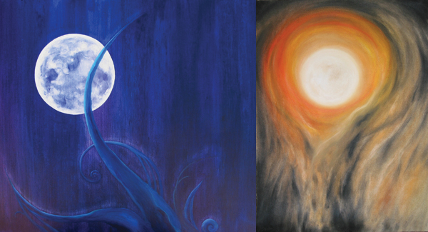 full moon lunar eclipse painting gallery by Kauai artist Donia Lilly