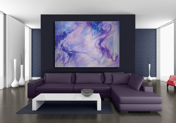 """Blue Violet I"" abstract Oversized Giclee print by Donia Lilly"
