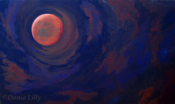Full eclipse Blood Moon acrylic art by Donia Lilly