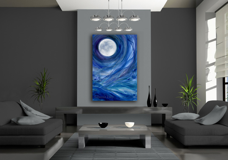 "Moon art canvas giclee print - ""Moontides II"" - by Donia Lilly"