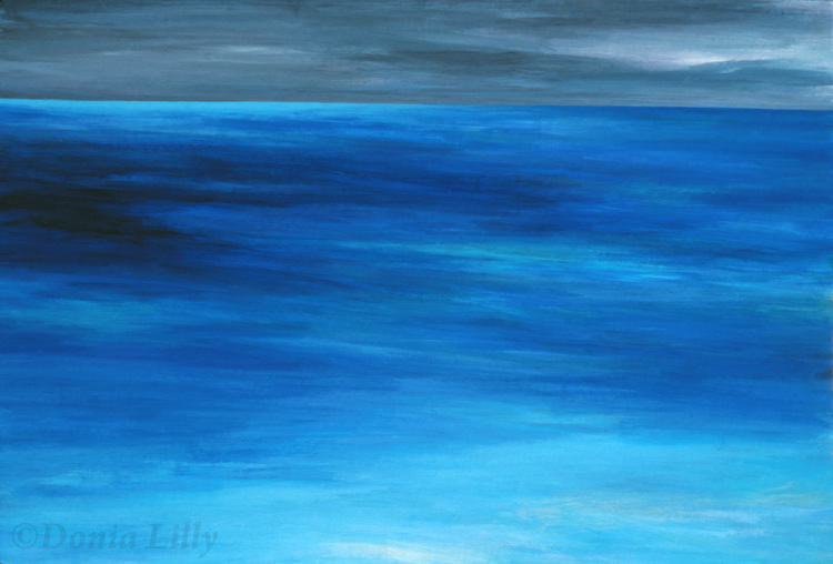 large ocean acrylic painting aqua blue grey by Kauai, Hawaii artist Donia Lilly