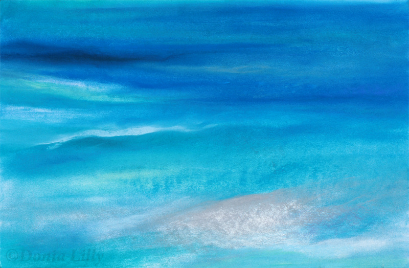 ocean pastel painting turquoise blue by Kauai, Hawaii artist Donia Lilly