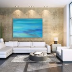 """Ocean V"" ocean abstract painting - extra large canvas giclee print by Donia Lilly"