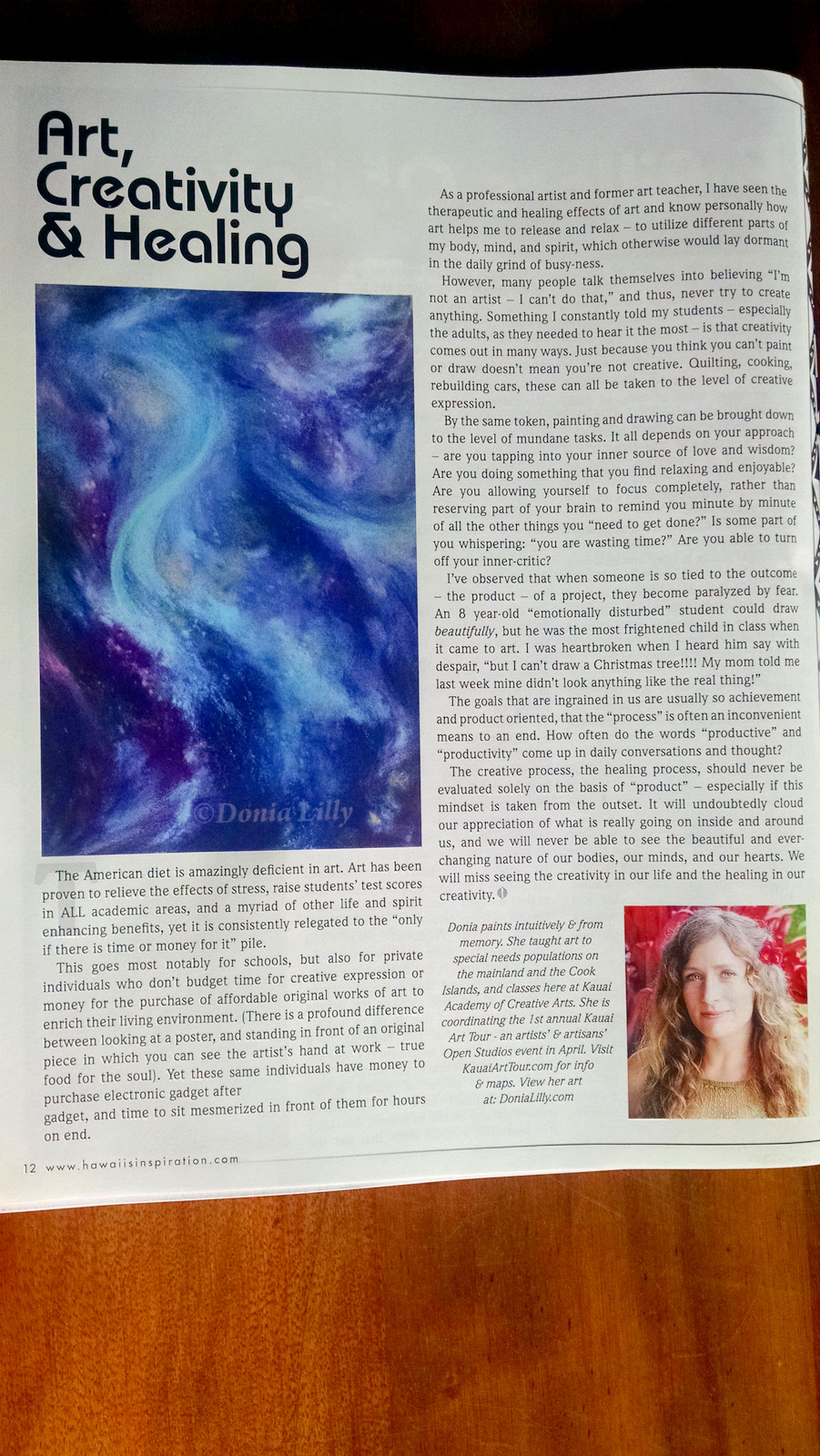 Art Creativity Healing article by Donia Lilly in Hawaii's Inspiration Magazine spring 2015