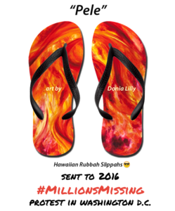Millions Missing DC protest Donia Lilly Pele flip flops Hawaiian slippahs